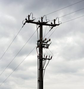 Telephone pole covered in wires